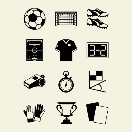 Soccer (football) icon set in flat design style. Vector