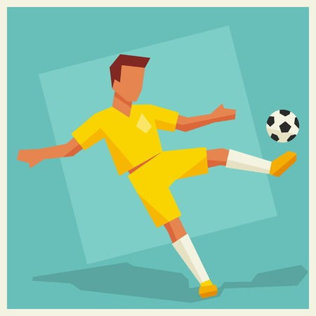 card player: Illustration of soccer player in flat design style.