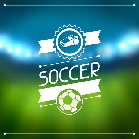 Sport achtergrond met voetbalstadion en labels. Stock Illustratie