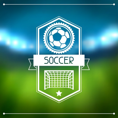 Sports background with soccer stadium and labels. Illustration