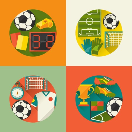 Sports backgrounds  with soccer (football) flat icons. Vector