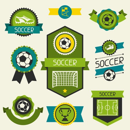 Sports ribbons, labels and badges with soccer (football) icons. Vector