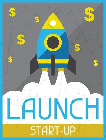 prototipo: Inicie Start-up. Retro cartel en el estilo de diseño plano.