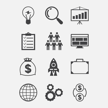 Start-up icon set in flat design style. Vector