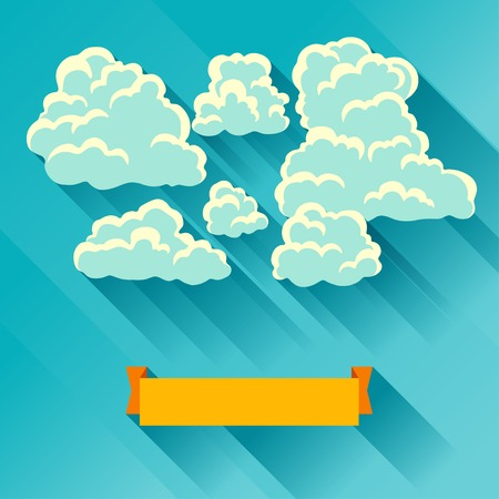 Abstract background card with sky and clouds. Vector