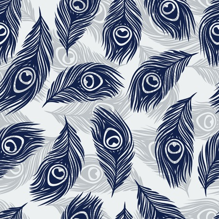 Seamless  pattern with hand drawn feathers peacock