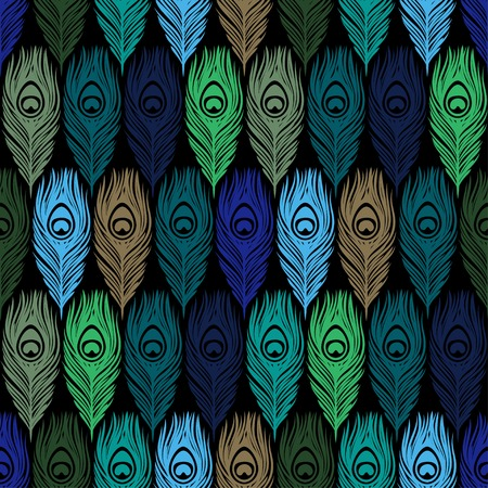 plumage: Seamless  pattern with hand drawn feathers peacock