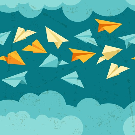 Seamless pattern of paper planes on the sky with clouds  Vector
