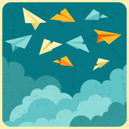 Illustration of paper planes on the sky with clouds  Vector