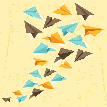 Illustration of paper planes on the grunge background  Vector