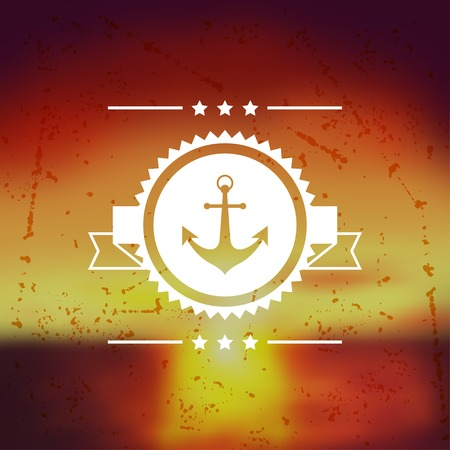Design postcard with marine label and symbol. Vector