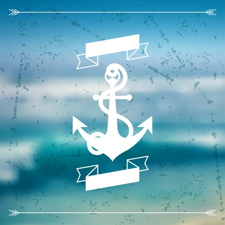 anchor background: Design postcard with marine label and symbol.