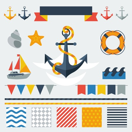 Collection of nautical symbols, icons and elements. Vector