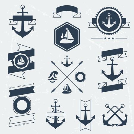nautical star: Collection of nautical symbols, icons, badges and elements.