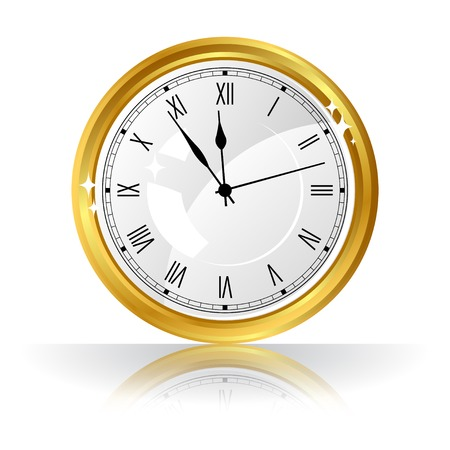 gold watch: Vector gold watch isolated on white background. Illustration