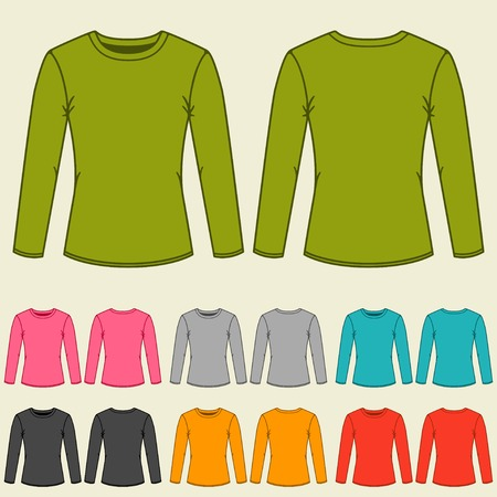 long sleeve: Set of templates colored sweatshirts for women. Illustration