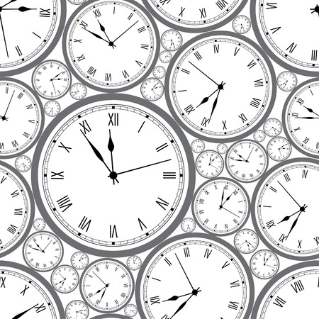 time machine: Seamless pattern with watches. Stylish vector texture. Illustration