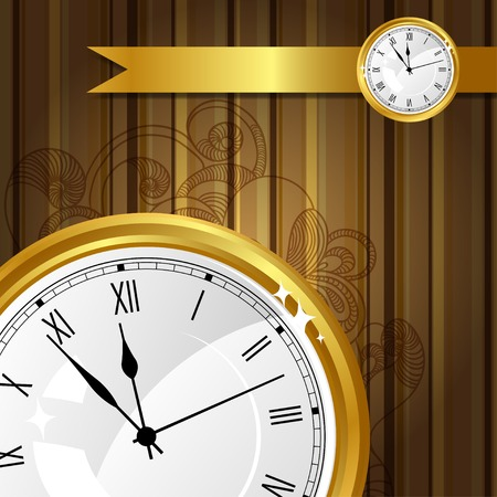 cover background time: Stylish vector background with gold watches and ribbon.