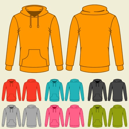 casual hooded top: Set of templates colored sweatshirts for women. Illustration
