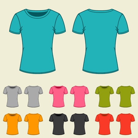 t shirt printing: Set of templates colored t-shirts for women. Illustration