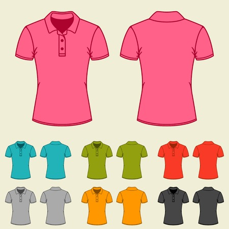 for women: Set of templates colored polo shirts for women.