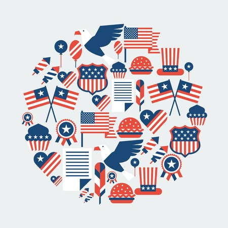 declaration of independence: United States of America Independence Day greeting card  Illustration