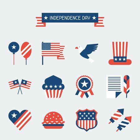 aguila calva: Estados Unidos de América del Día de la Independencia conjunto de iconos. Vectores