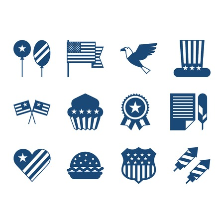 declaration: United States of America Independence Day icon set.