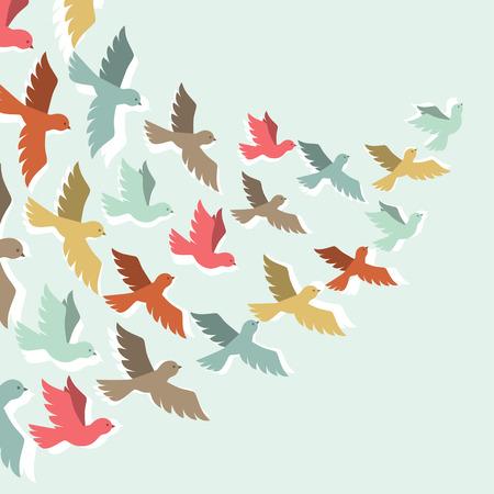Sky background with stylized color flying birds. Illustration