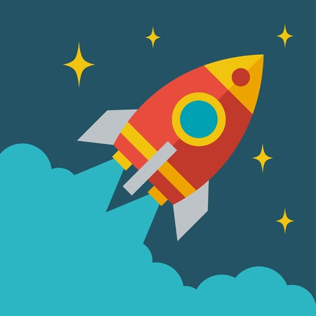 Start up business rocket concept illustration in flat style. Vettoriali