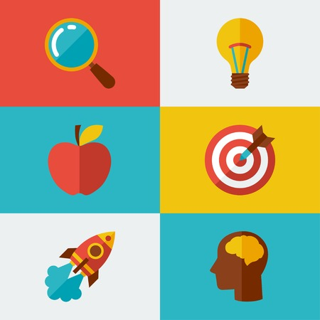 brain research: Idea concept illustration in flat design style.