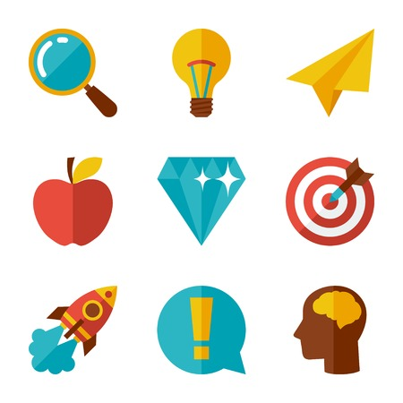 Idea concept icons in flat design style. Vector