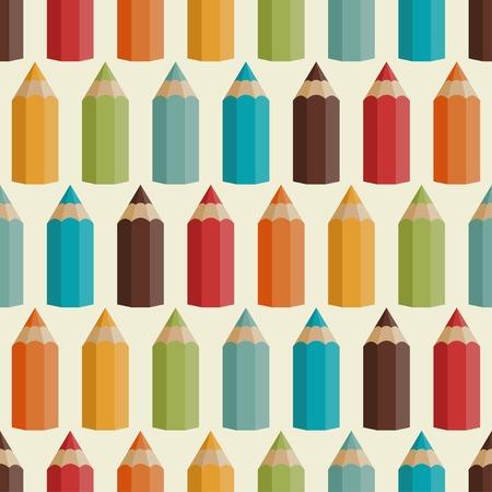 Patrón sin fisuras con lápices de colores en estilo retro. Foto de archivo - 28824159