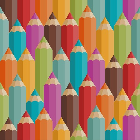 old pencil: Seamless pattern with colored pencils in retro style.