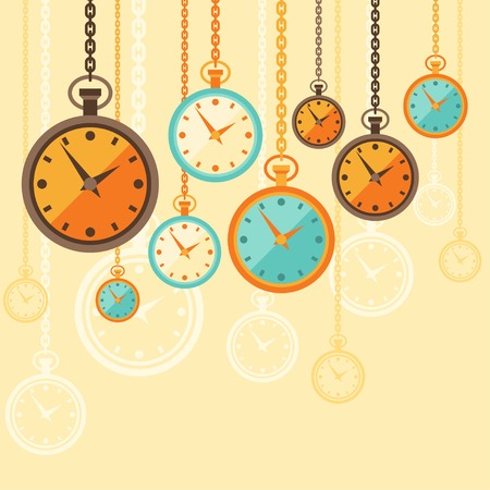 time machine: Background with retro watches in flat style.