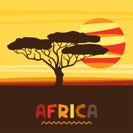 African ethnic background with illustration of savanna. Vector