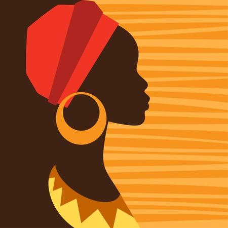 retratos: Silhueta da menina africano no perfil com brincos.