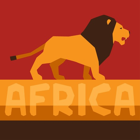 African ethnic background with illustration of lion. Vector