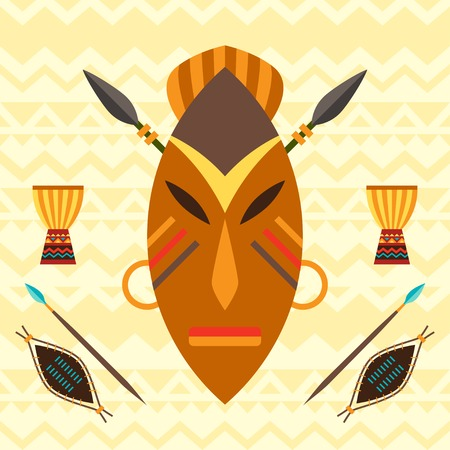 African ethnic background with illustration of mask. Vector