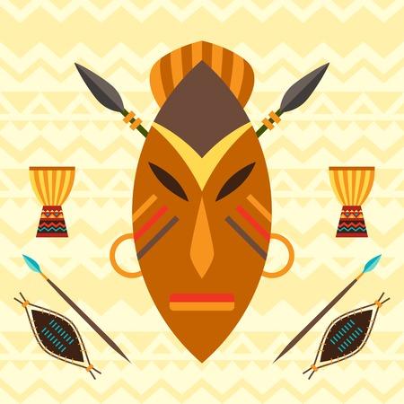 wooden mask: African ethnic background with illustration of mask. Illustration