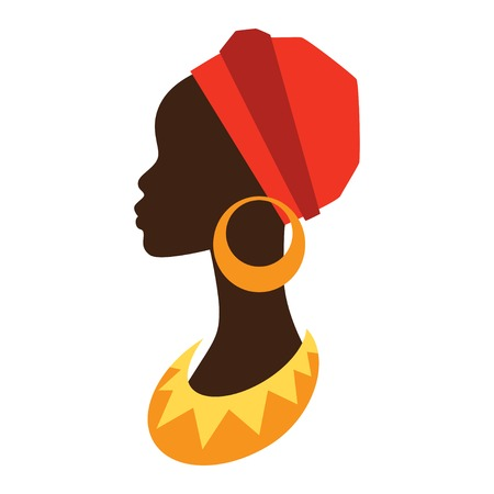 african woman face: Silhouette of african girl in profile with earrings.