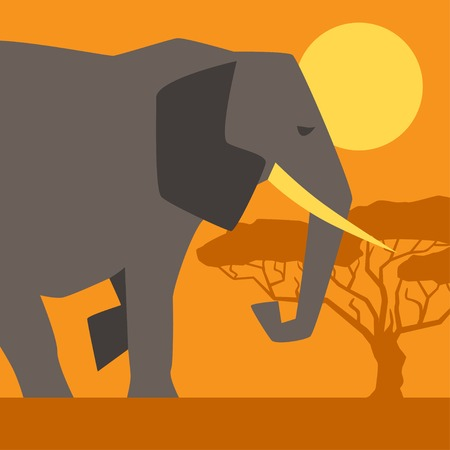 African ethnic background with illustration of elephant. Vector