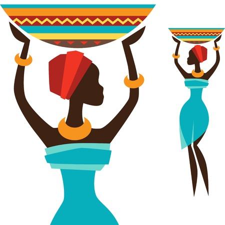 carries: Silhouette di ragazza africana che porta cestino. Vettoriali