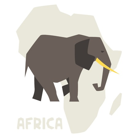 Simple illustration of elephant on background africa map. Vector