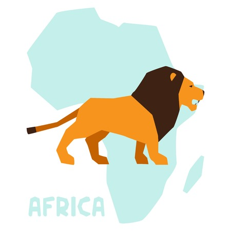 Simple illustration of lion on background africa map. Vector