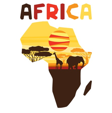 national cultures: African ethnic background with illustration of map  Illustration