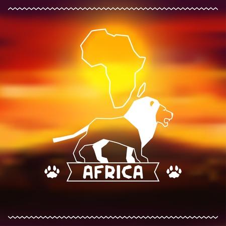 African ethnic background on evening savanna landscape  Vector