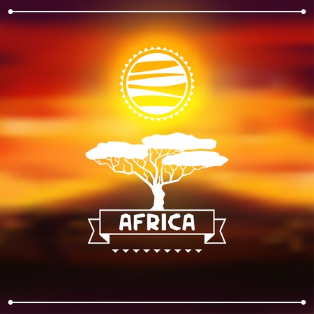 African ethnic background on evening savanna landscape  Vector