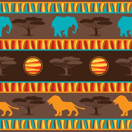 acacia: Ethnic african abstract geometric seamless fabric pattern  Illustration