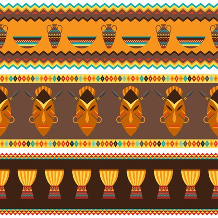 african basket: Ethnic african abstract geometric seamless fabric pattern  Illustration